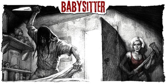 Promotional art from The Mortuary Collection - In The Babysitter, an escaped lunatic gets more than he bargained for when he messes with the WRONG babysitter.