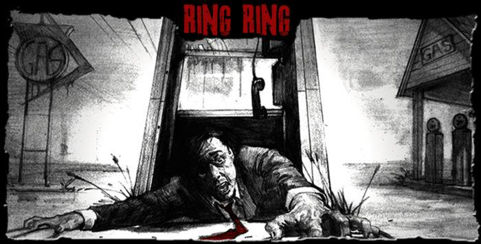 Promotional art from The Mortuary Collection - In Ring Ring, a pushy telemarketer harasses a customer to death, but when the salesman starts to receive calls from beyond the grave, he must figure out how to appease the vengeful spirit before it's too late.