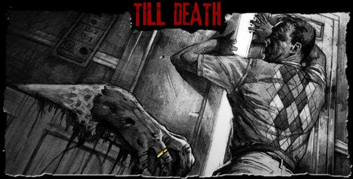 Promotional art from The Mortuary Collection - In Till Death, a claustrophobic man finds himself trapped in an elevator with the corpse of his abusive wife.