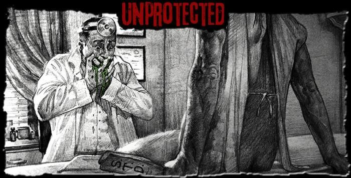 Promotional art from The Mortuary Collection - In Unprotected, a womanizing frat boy discovers that he's pregnant after a wild night of unprotected sex...and it's definitely not human!