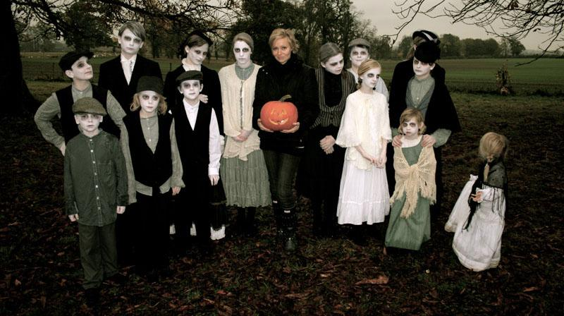 Axelle Carolyn and the young cast of The Halloween Kid
