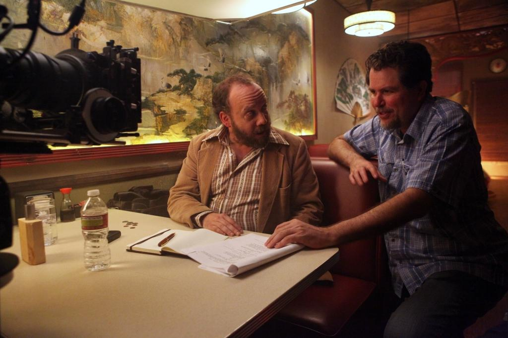 Paul Giamatti and Don Coscarelli on the set of JOHN DIES AT THE END. (Magnet Releasing)