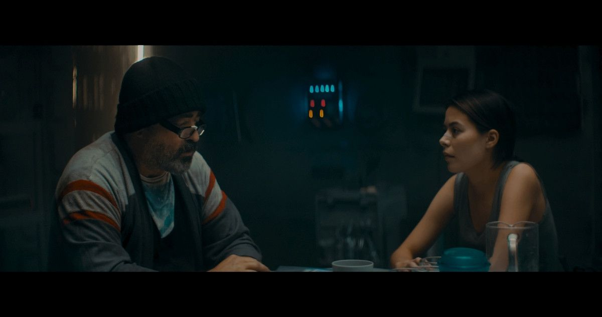 "=(L-R) Angus Macfadyen as Dr. Richard Valin and Miranda Cosgrove as Lisa Brown in the sci-fi film, ""3022,"" a Saban Films release. Photo courtesy of Saban Films."