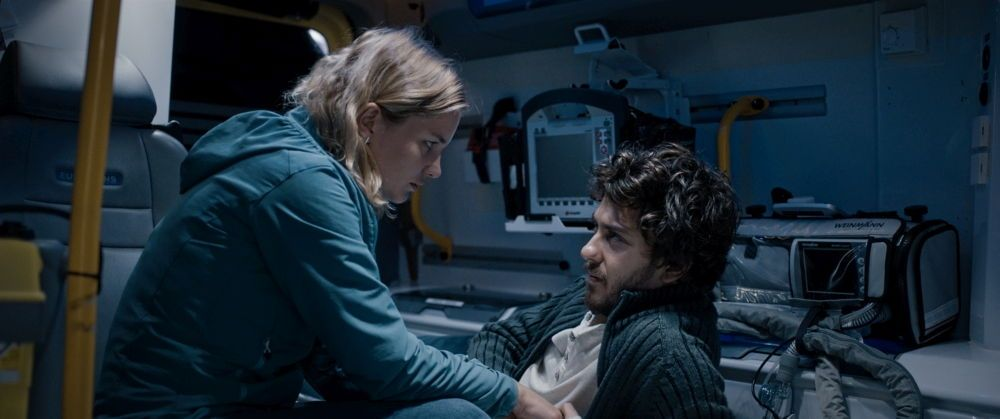 Christine and Eric - Iben Akerlie and Nat Wolff - Private moment in an ambulance.