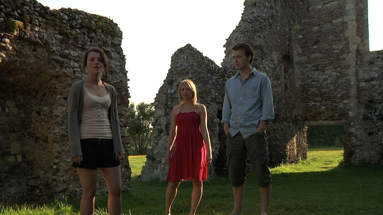 """Emily Plumtree, Jessica Ellerby and Matt Stokoe in """"Hollow"""" distributed by Tribeca Film. Photo Credit: Mark James."""