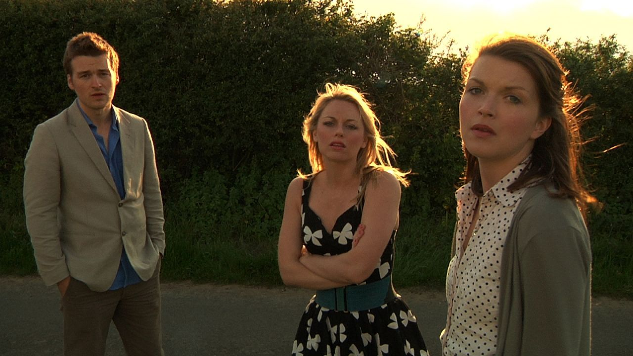 """Matt Stokoe, Jessica Ellerby and Emily Plumtree in """"Hollow"""" distributed by Tribeca Film. Photo Credit: Mark James."""