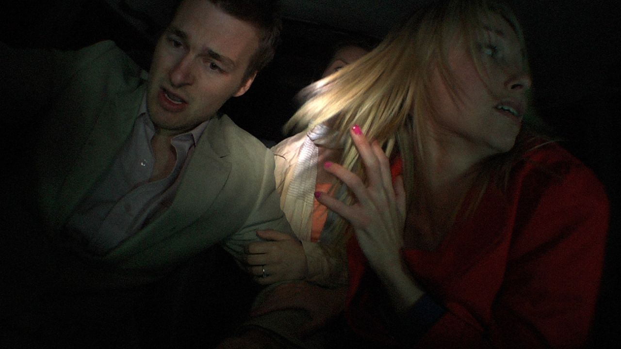 """Matt Stokoe, Emily Plumtree and Jessica Ellerby in """"Hollow"""" distributed by Tribeca Film. Photo Credit: Mark James."""