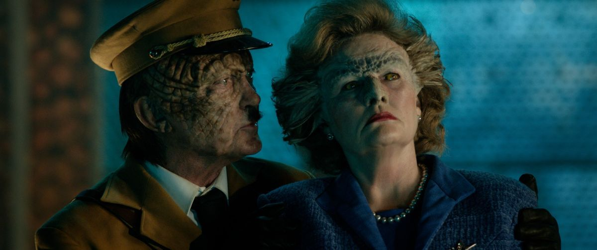 """(L-R) Udo Kier as Wolfgang Kortzfleisch and Amanda Wolzak as Vril Margaret Thatcher in the sci-fi comedy """"IRON SKY: THE COMING RACE"""". Photo courtesy of Vertical Entertainment."""