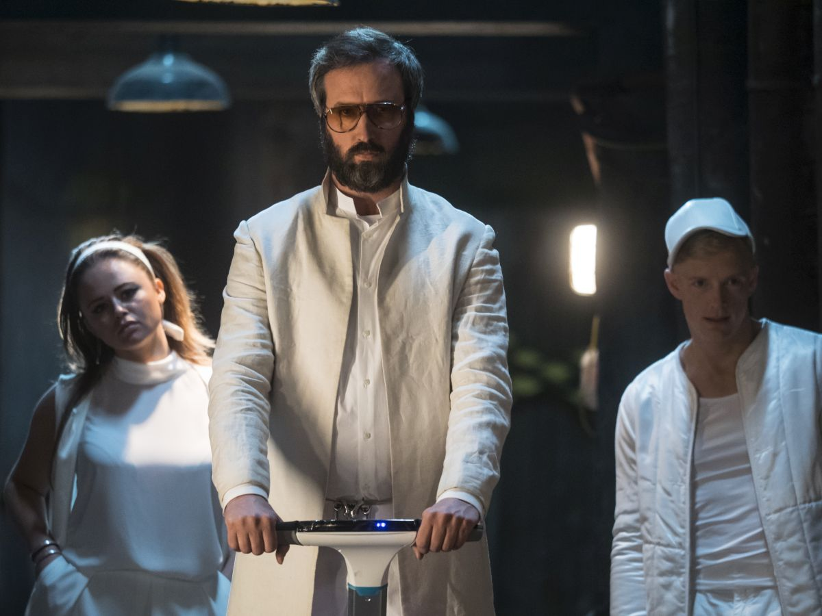 """(L-R)  Emily Atack as Tyler, Tom Green as Donald and Martin Swabey as Ryan in the sci-fi comedy """"IRON SKY: THE COMING RACE"""". Photo courtesy of Vertical Entertainment."""