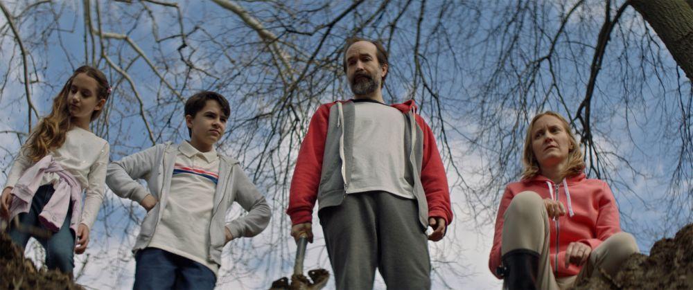 "Nita-Josee Hanna as Mimi, Owen Myre as Luke, Adam Brooks as Greg and Alexis Hancey as Susan in the horror/action/comedy film, ""PG: PSYCHO GOREMAN,"" a RLJE Films/Shudder release. Photo courtesy of RLJE Films / Shudder."