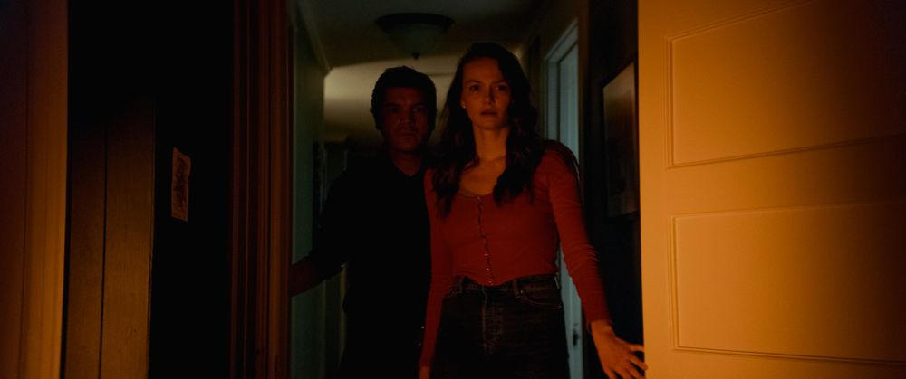 [L-R] Emile Hirsch as Paul and Andi Matichak as Laura in the horror film SON, a RLJE Films/Shudder release. Photo courtesy of RLJE Films.