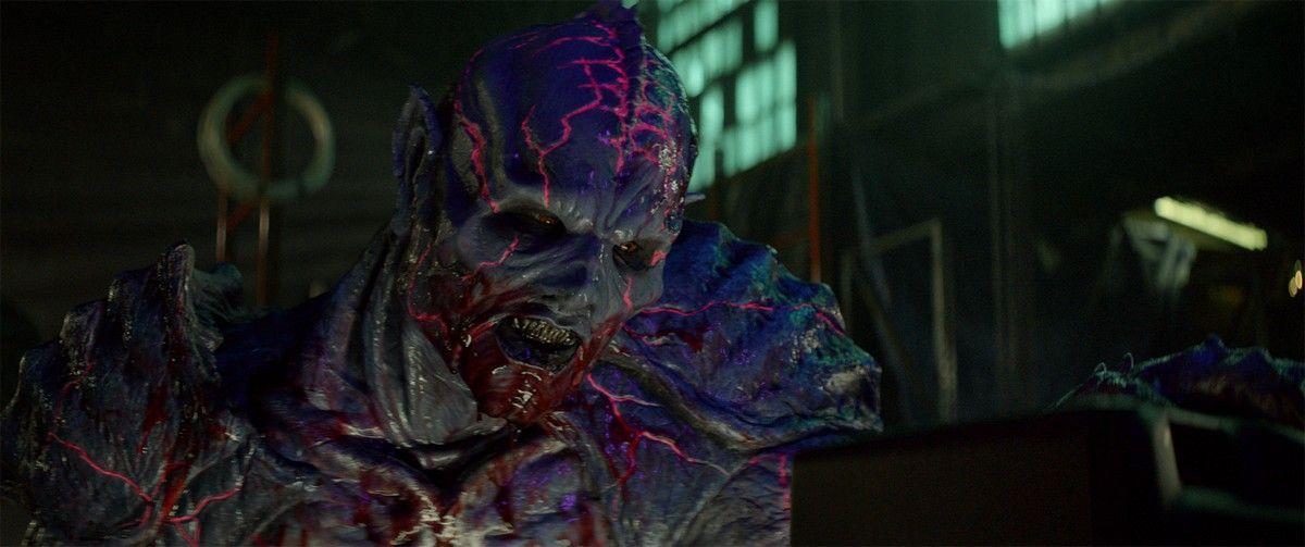 "Matthew Ninaber as Psycho Goreman in the horror/action/comedy film, ""PG: PSYCHO GOREMAN,"" a RLJE Films/Shudder release. Photo courtesy of RLJE Films."